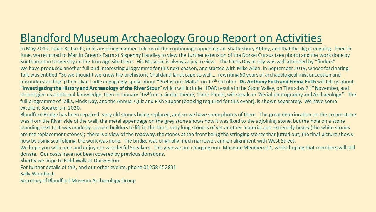 Blandford Forum Archaeology club